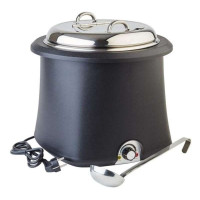APS Elektrischer Suppentopf schwarz, mit Wasserbad, 10 Liter