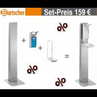 Bartscher Desinfektionsspender-Set; 3tlg. | inkl. Säule, Desinfektionsspender 0,9 Liter, Abtropfschale