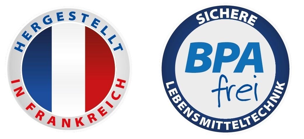 """Button """"Hergestellt in Frankreich"""" und """"BPA frei"""""""